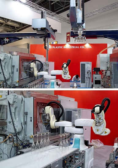 Nissei molded PLA champagne flutes in two parts on two presses. Two top-entry robots (top) delivered the parts to a Kawasaki dual-arm DuAro SCARA-type cobot that assembled the flutes (bottom).