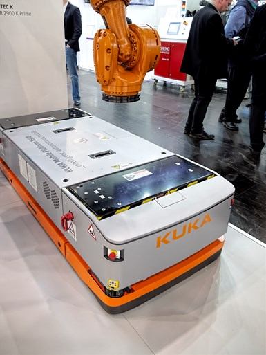 Kuka's new model KMP1500 WLAN-guided AGV can carry molds or other loads up to 3300 lb.