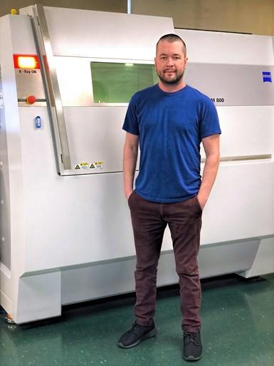 "Octex CTO Brett Wigton with the Zeiss Metrotom 800 CT scanner, the ""big gun"" of Omnia's metrology lab."