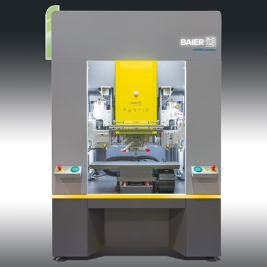 New Baier hybrid machine for both hot stamping and four-color digital printing on the same part.