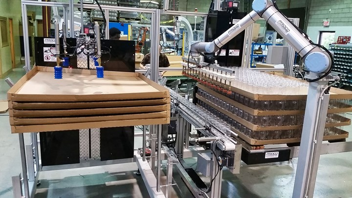Proco Machinery has developed packaging systems for blow molding, like this Half Cube Palletizer, with Universal Robots cobot arms to reduce the handling of containers, simplify operation, and enhance efficiency with a small footprint and fast ROI.