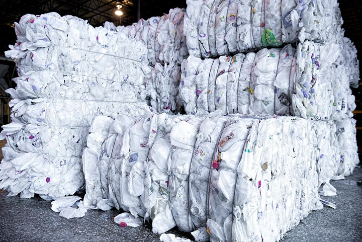 The Graham Recycling Center processes 50 million lb/yr of HDPE bales, consisting mainly of milk jugs.