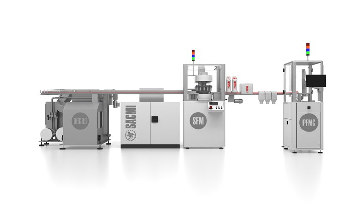 Four main modules make up SACMI'sdownstream line that can process up to 1000 caps/min, or twice that number with an upgraded scoring/folding module.