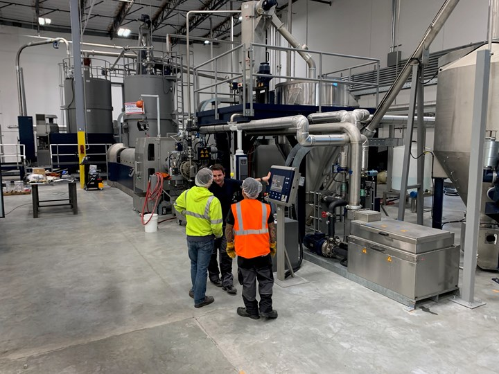 At San Bernardino, Calif., CG Roxane takes in clean rPET flake and extrudes pellets for its plants to injection mold into bottle preforms and stretch-blow into water bottles.