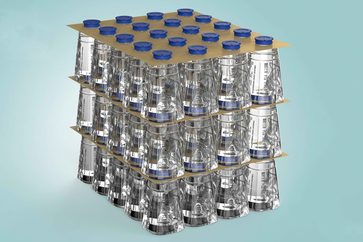 Another compact stacking arrangement nests the necks of one bottle layer into the recessed bases of the bottles above. Each layer is held together by a perforated cardboard separator sheet.