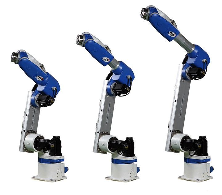Shibaura Machine's new TVM series of vertically articulated robots.