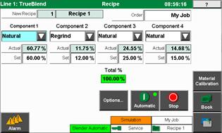 active recipe screen