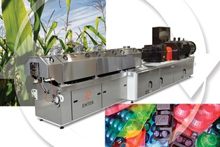 extrusion machine superimposed with a cycle icon and images of corn crops and plastic food trays