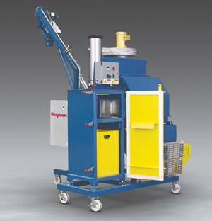 Mobile Bag Dump Station Equipped with Compactor, Conveyor