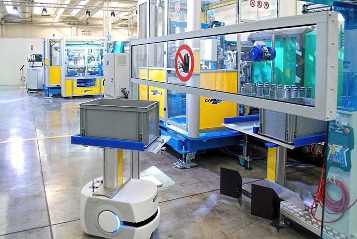An Omron AMR (autonomous mobile robot) removed boxes of finished products from conveyor to storage.