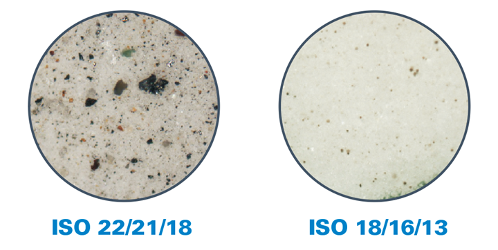 Microphotographs clearly show the difference in contamination level between ISO 18/16/13 oil recommended by Arburg, and ISO 22/21/18, which is more typical of commercially available barrel oil. (Photo: Donaldson Company, Inc.)