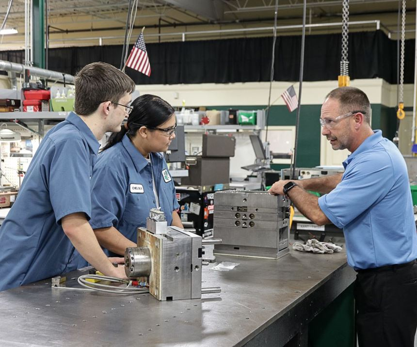 training new employees in the machine shop