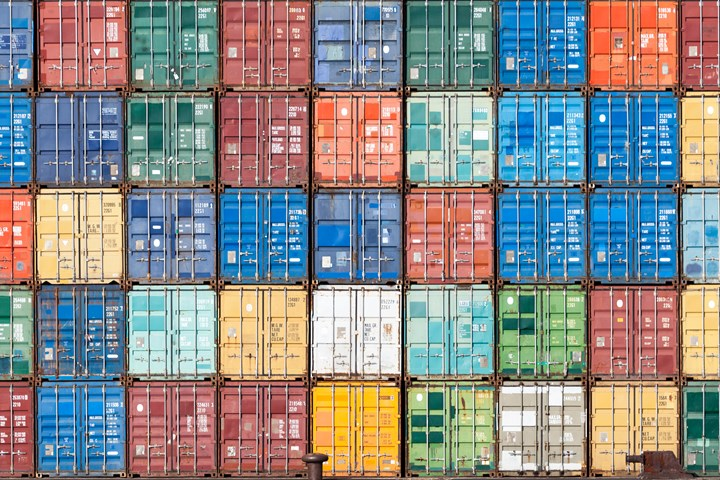 Shipping containers stacked.