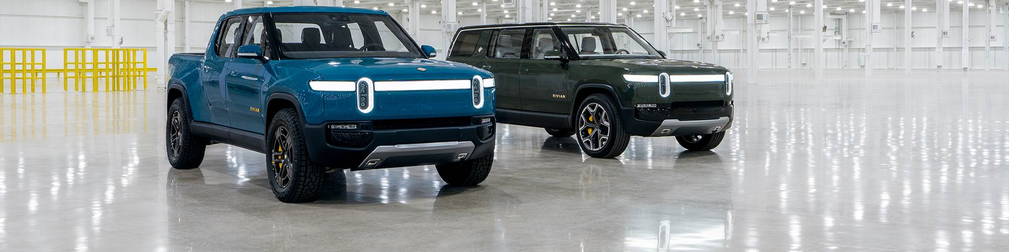 Rivian R1T pickup and R1S SUV at Normal, Ill., factory