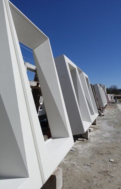 concrete window frames made with 3D printed tooling