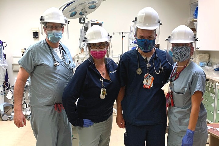 medical staff wearing face shields