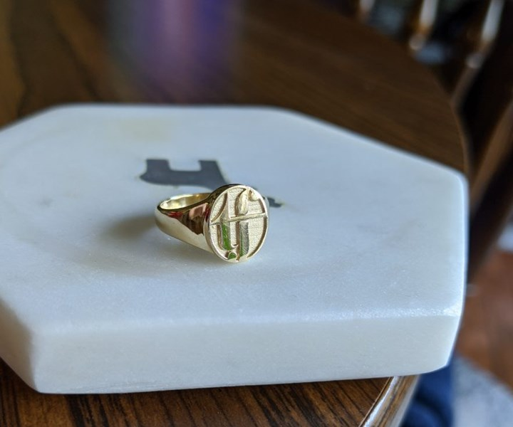 custom gold ring cast from a 3D printed model; The Future of Jewelry