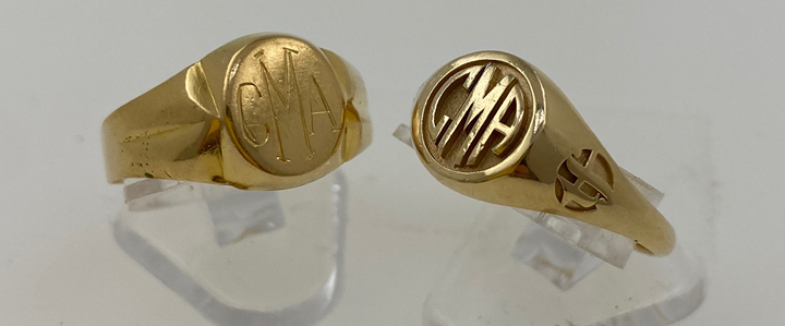 conventional gold signet ring and gold ring cast from 3D printed wax