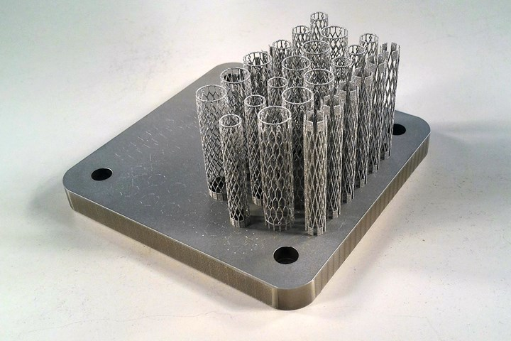 3d printed nitinol stents on a powder bed fusion build plate