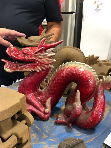 dragon 3D printed from sand and infiltrated with resin, finished