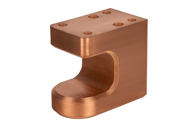 Electrode holder printed in copper part features internal conformal cooling channels to improve temperature regulation.