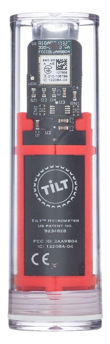Tilt Hydrometer with red 3D printed bracket