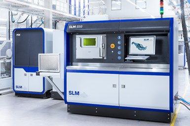 The SLM500 is a selective laser melting machine equipped with four 700 W lasers.