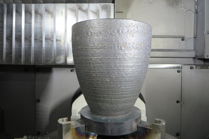 3D printed metal part made through additive turning