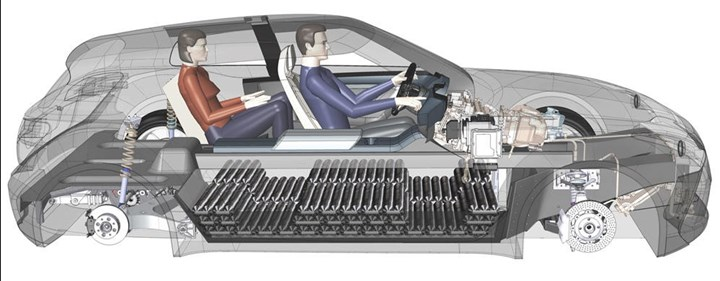 rendering of how flat cells of composite storage tanks fit into fuel cell vehicle floor