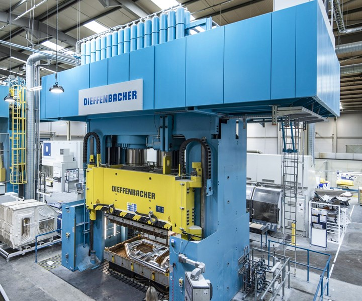 One of the two DIEFFENBACHER CompressEco presses at the Creative Composites production site in