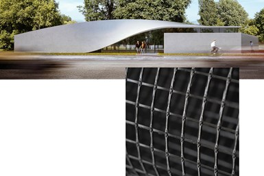 Rendering of CUBE building at TU Dresden and Hitexbau carbon fiber grid.