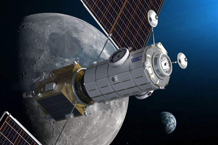 Artist illustration of Northrop Grumman's HALO module and the Power Propulsion Element