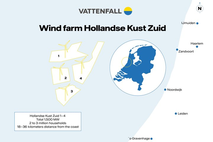 Vattenfall offshore windfarm map.