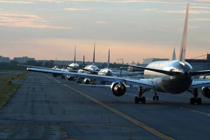 Lineup of airplanes