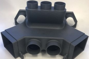 A transition duct for an unmanned aerial vehicle (UAV) from HexAM additive manufacturing