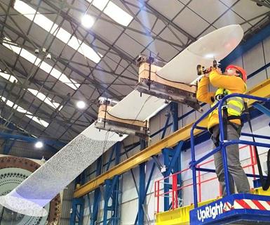 ACT Blade 13m test technicians on lift