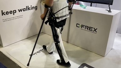 C-FREX exoskeleton enabling person with spinal cord injuries to walk