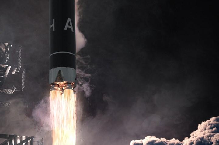 artist rendering of Alpha launch vehicle launch