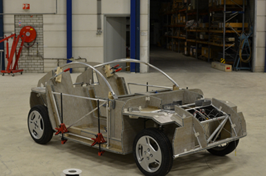 Chassis of Luca car made from EconCore's recycled PET honeycomb cores