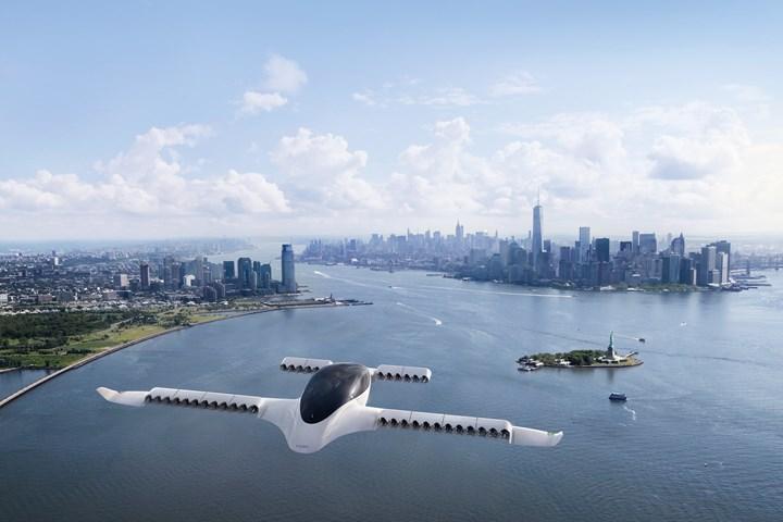 Lilium Jet rendering in flight over New York