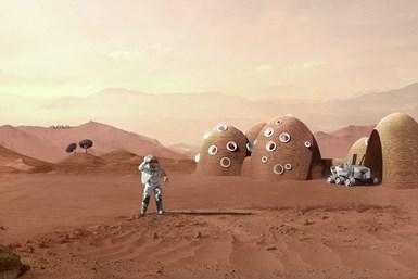 Illustration of a Mars habitat concept.
