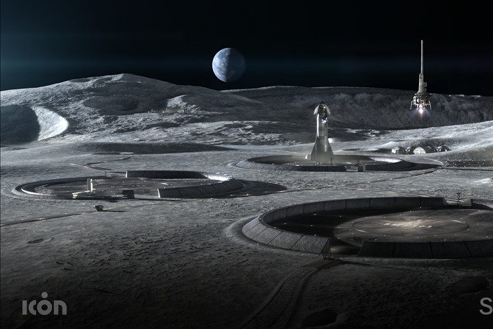 ICON illustration of a conceptual lunar base with 3D-printed infrastructure