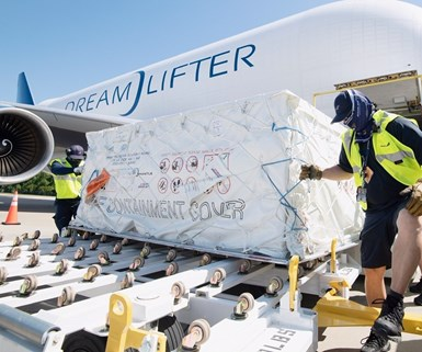 Boeing Dreamlifter delivering PPE