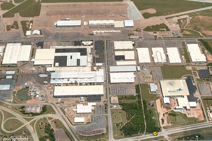 Spirit AeroSystems Wichita campus aerial view