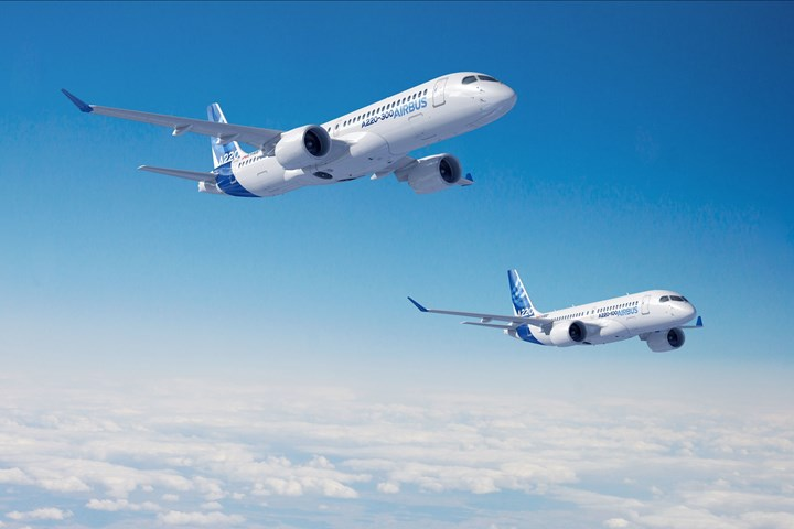 Airbus A220s in flight