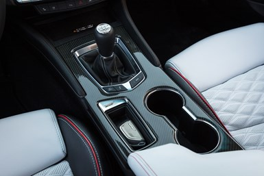 Cadillac Blackwing interior carbon fiber console