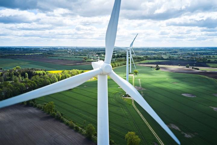 Wind turbine close-up.