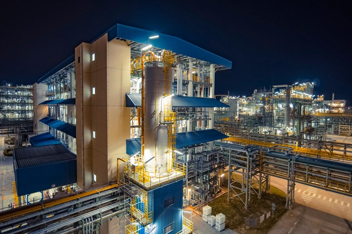 Covestro's existing production plant for polyurethane dispersions in Shanghai, China.