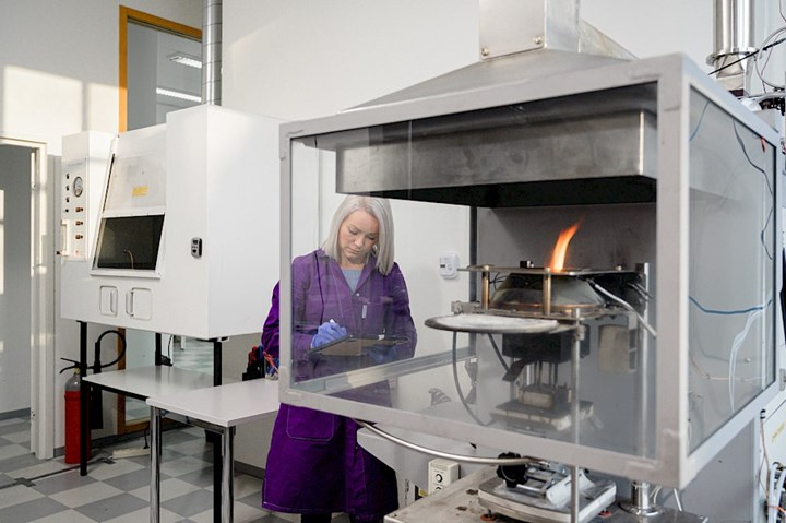 Finnester Coatings' new in-house fire-testing lab.