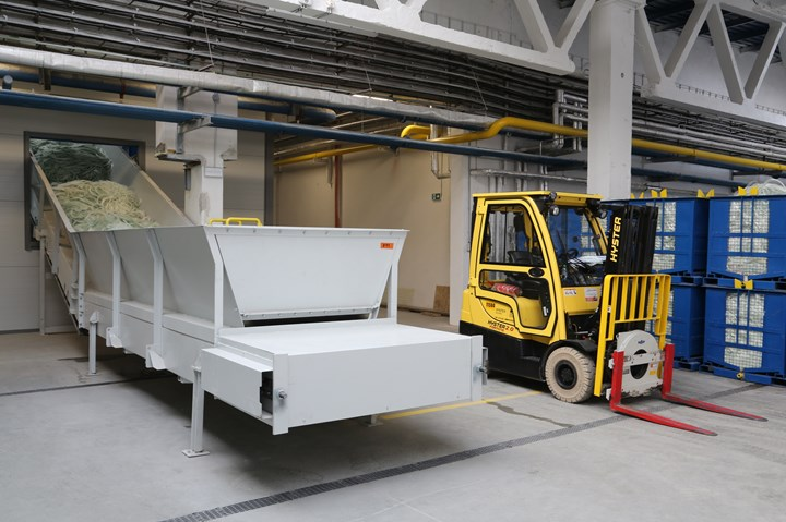 Thermal recycling unit's feeder area.